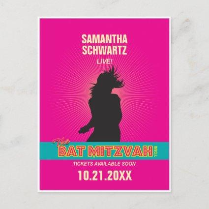 Rock Star Bat Mitzvah Save the Date in Hot Pink Announcement