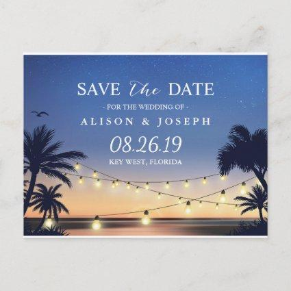 Romantic Beach Sunset String Lights Save the Date Announcement