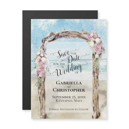 Romantic Beach Watercolor Save the Date Wedding Magnetic Invitation
