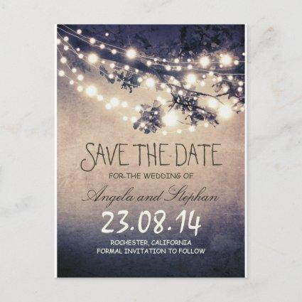 romantic blue night lights rustic save the date announcement