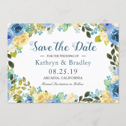 Romantic Blue Yellow Rose Garden Save The Date