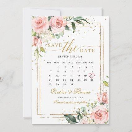 Romantic blush pink floral gold frame wedding save the date