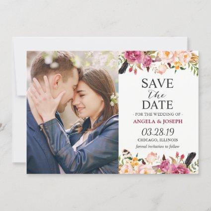 Romantic Boho Floral Feather Photo Save the Date