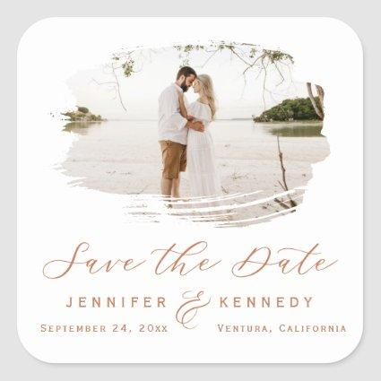 Romantic Brushed Frame Terracotta Save the Date Square Sticker