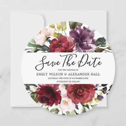 Romantic Burgundy Red Watercolor Flowers Save The Date