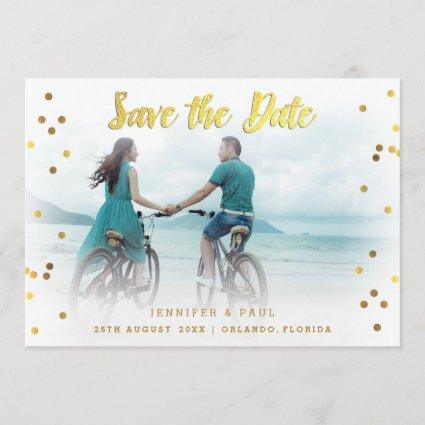 Romantic Confetti Save The Date Wedding Photo