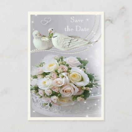 Romantic Doves, Sparkles & Roses Save the Date