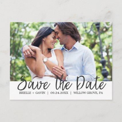 Romantic Fairytale Calligraphy Save the Date Photo Announcement