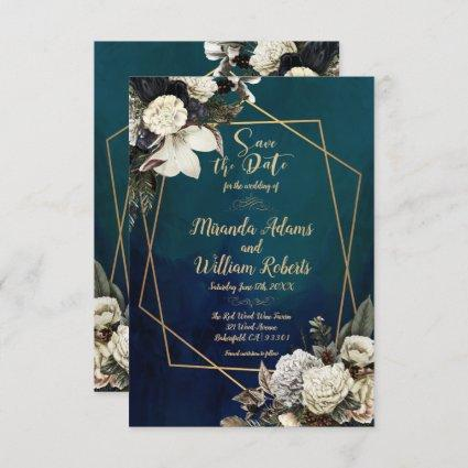 Romantic Floral Gold Wreath Save the Date Wedding Invitation