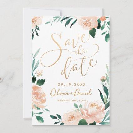 Romantic garden floral calligraphy save the date
