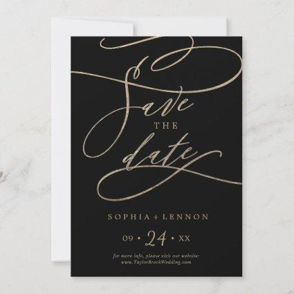 Romantic Gold Calligraphy | Black Save The Date