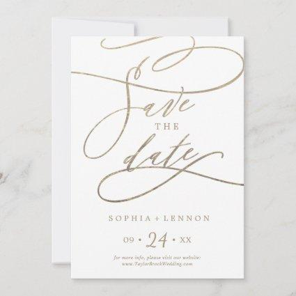 Romantic Gold Calligraphy Save The Date