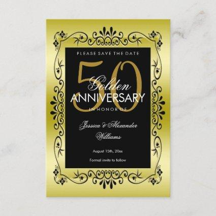 Romantic Gold Decorative Framed 50th Wedding Save The Date