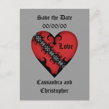 Romantic gothic medieval red heart save the date announcement