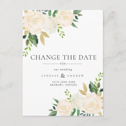 Romantic Ivory Roses Wedding Change the Date Announcement