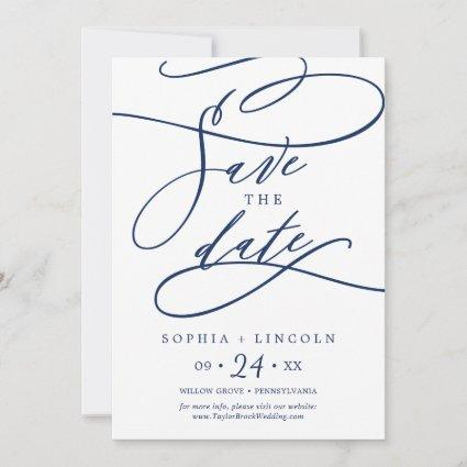 Romantic Navy Calligraphy | Flourish Save The Date