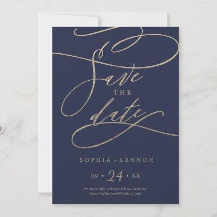 Romantic Navy Calligraphy Save The Date