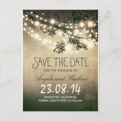 romantic night lights rustic save the date announcement