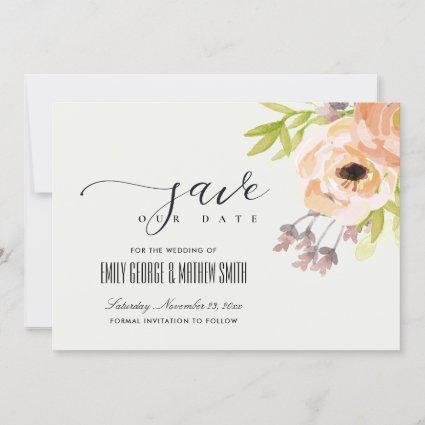 ROMANTIC OFF WHITE BLUSH PINK PURPLE PEACH FLORAL SAVE THE DATE