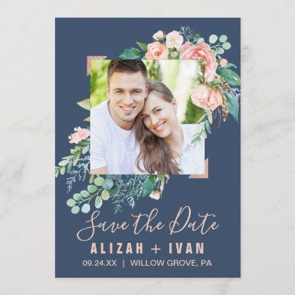 Romantic Peony Flowers | Blue Photo Save the Date