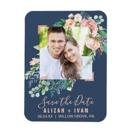 Romantic Peony Flowers | Blue Photo Save the Date Magnet