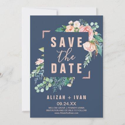 Romantic Peony Flowers | Blue Save the Date Card