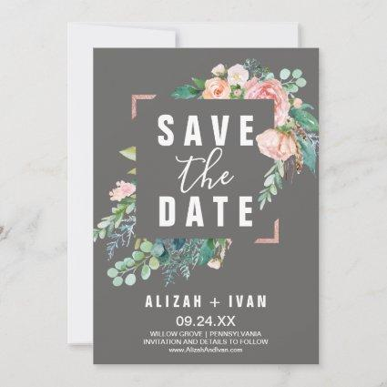 Romantic Peony Flowers | Gray Save the Date Card