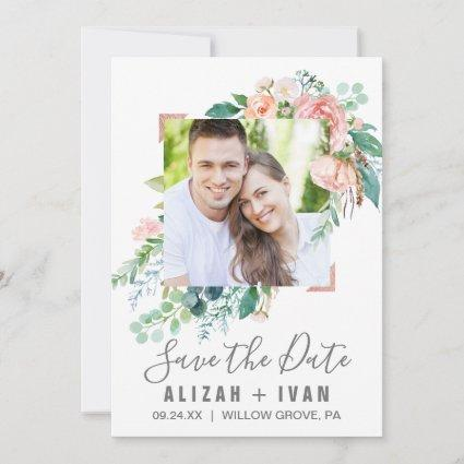 Romantic Peony Flowers Photo Save the Date Card