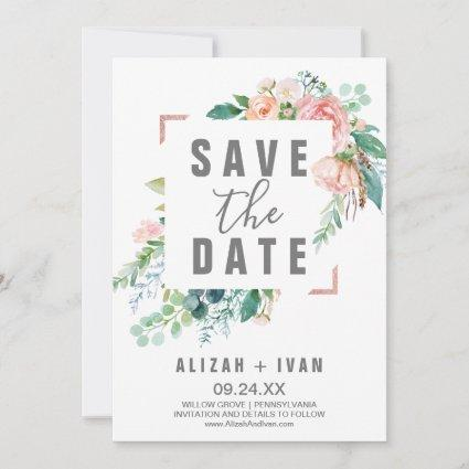 Romantic Peony Flowers Save the Date Card