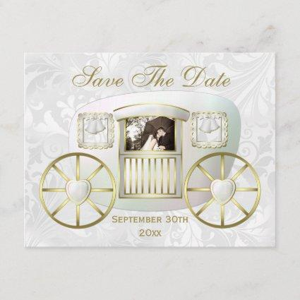 Romantic Photo Wedding Carriage Save the Date Invitation