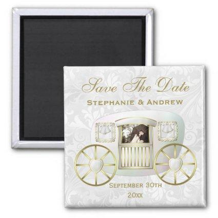 Romantic Photo Wedding Carriage Save the Date Magnet