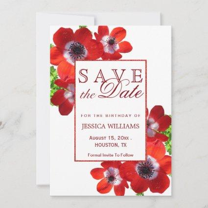 Romantic Red Anemone Floral Birthday Save The Date