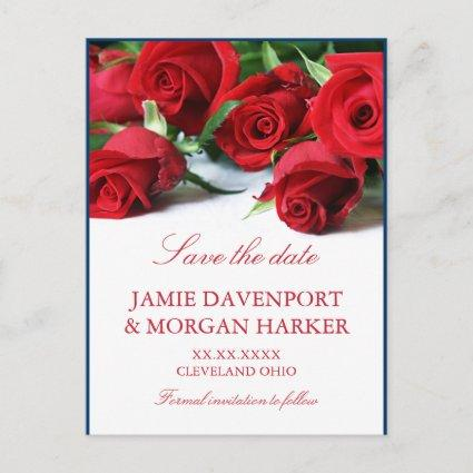 Romantic Red Roses Wedding  Announcements Cards