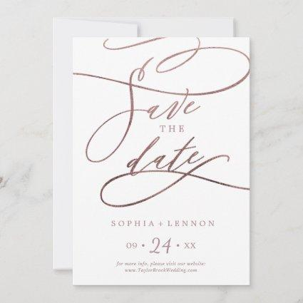 Romantic Rose Gold Calligraphy Save The Date