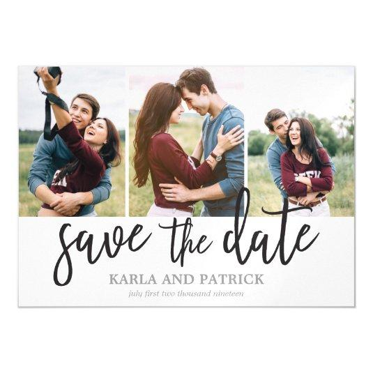 Romantic Script 3 Photo Collage Save The Date Magnetic Card