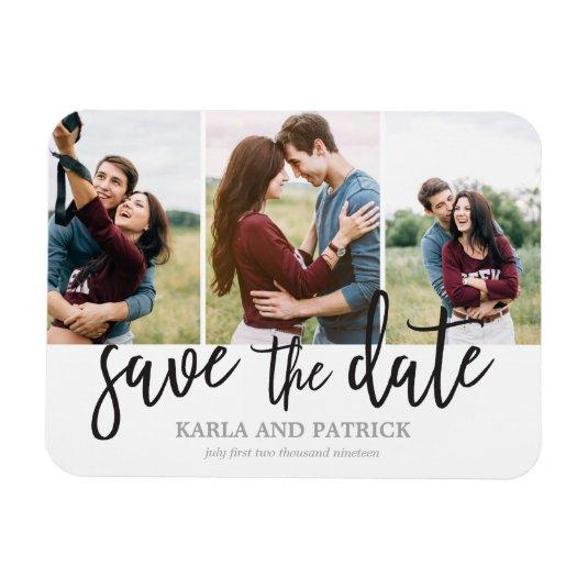 Romantic Script 3 Photo Collage Save The Date Magnets