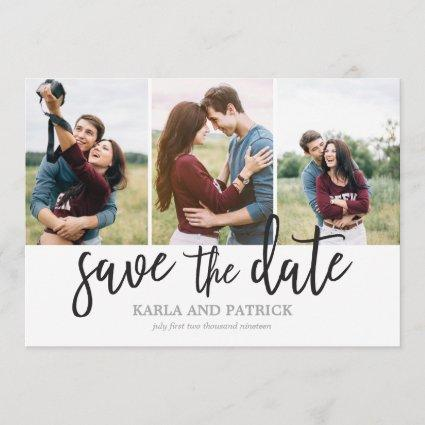 Romantic Script Photo Collage Save The Date