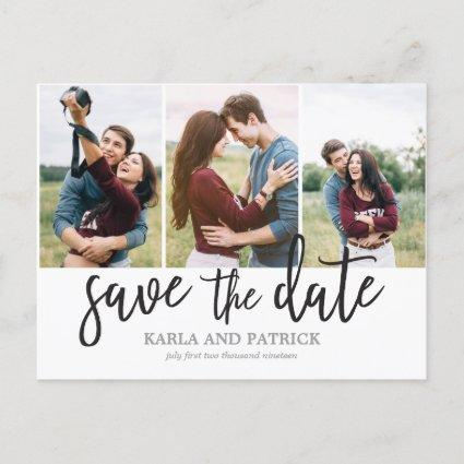 Romantic Script Photo Collage Save The Date Announcements Cards