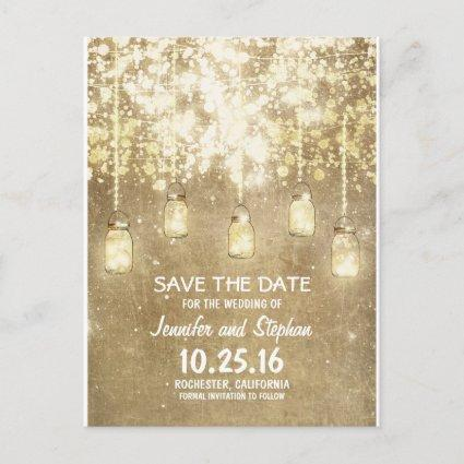 romantic string lights mason jars save the date announcement