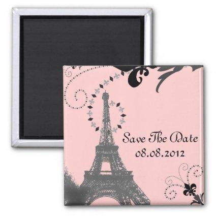 Romantic Vintage eiffel tower Paris Wedding Magnets