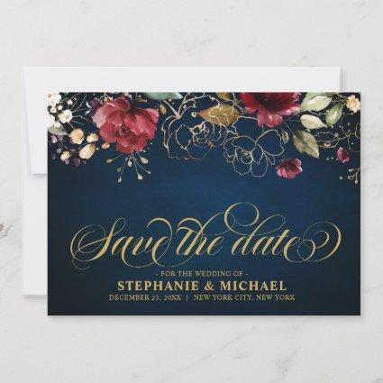 Romantic Watercolor Burgundy Red Navy Gold Floral Save The Date