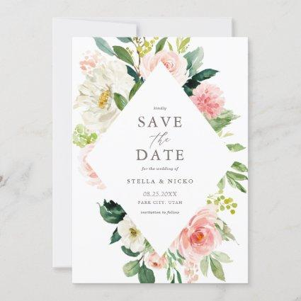 Romantic Watercolor Spring Blooms Save The Date