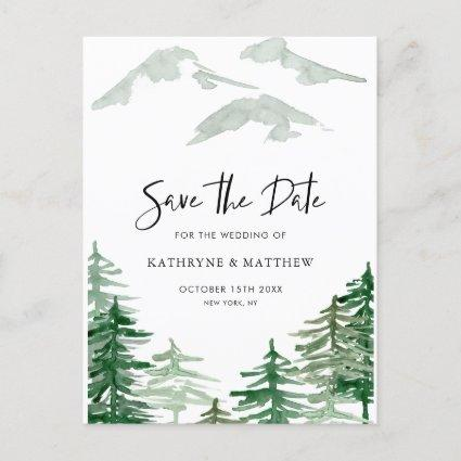 Romantic Watercolor Woodland Forest Save the Date Announcement