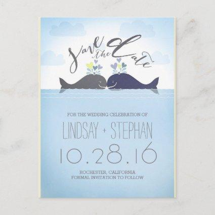 Romantic Whales Couple Save the Date Announcement