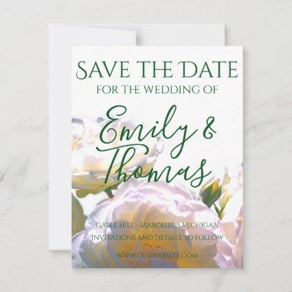 Romantic white and yellow roses save the date