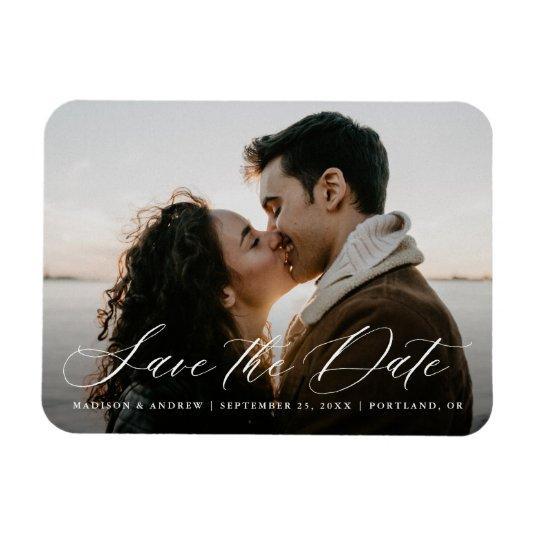 Romantic White Calligraphy Photo Save the Date Magnet