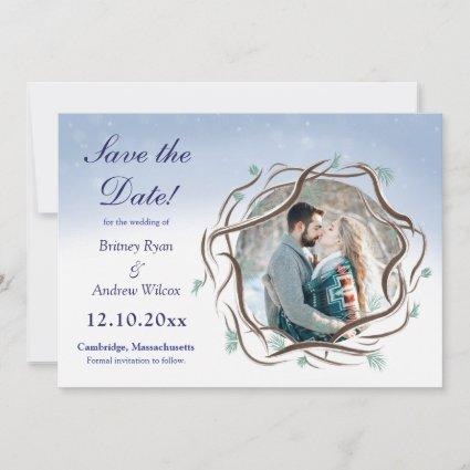 Romantic Winter Snow Tree Branches Save The Date
