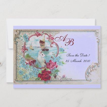 ROMANTICA  MONOGRAM Floral Pink Blue Wedding Party Save The Date