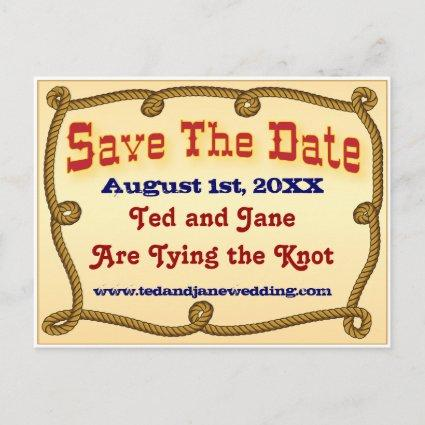 Rope western save the date announcement