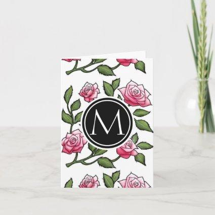 Rose Floral Illustration and Monogram Note Card